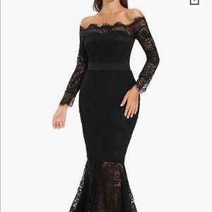 Lace Long Sleeve Off Shoulder Mermaid Dress